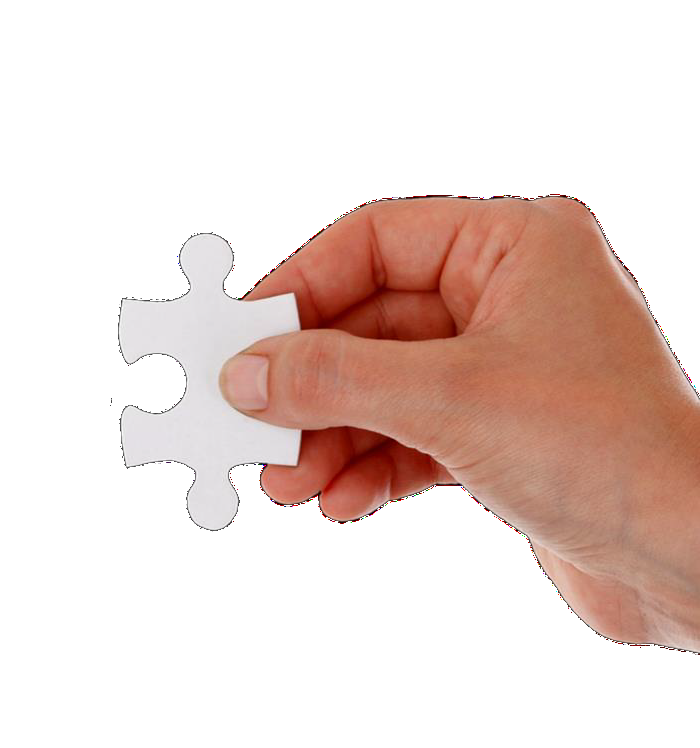 Hand with puzzle piece